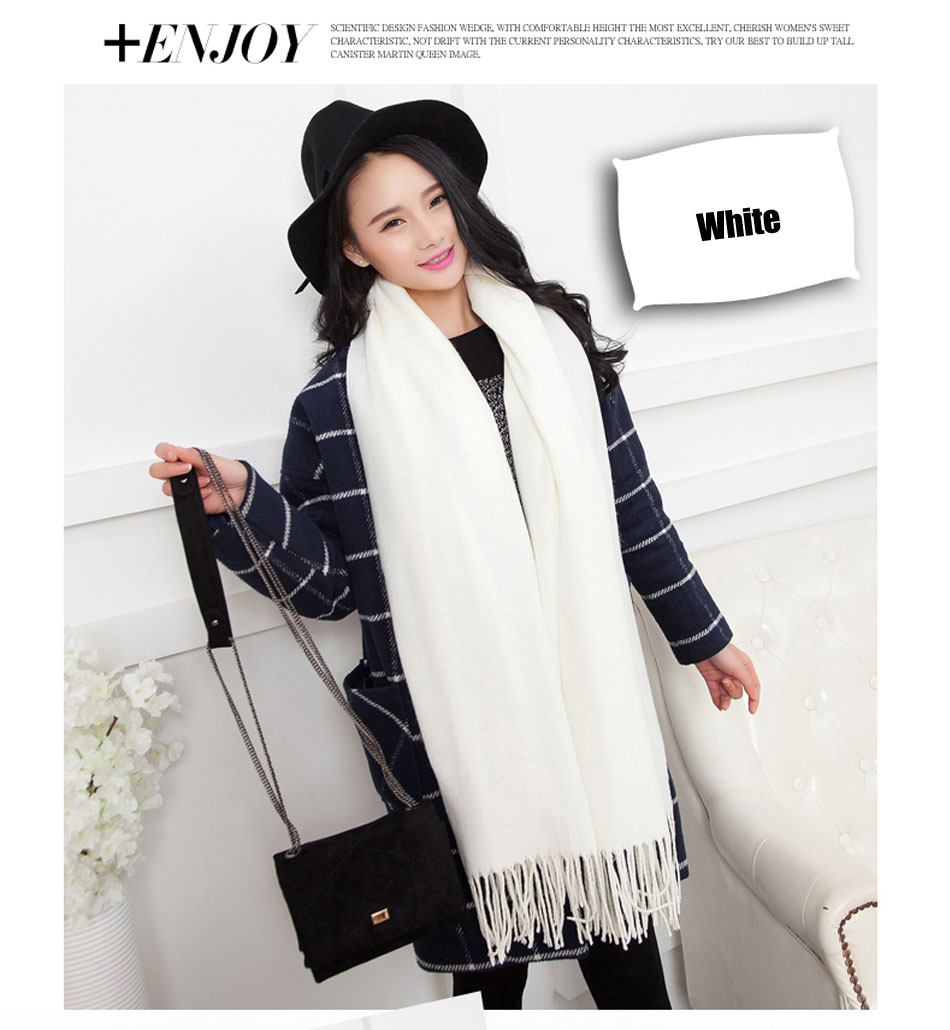Stylish Luxury Brand Cashmere Scarves Women Fashionable Pure Colors Shawls Pashmina Wool Capes Winter Thick Warm Poncho Hot Sale
