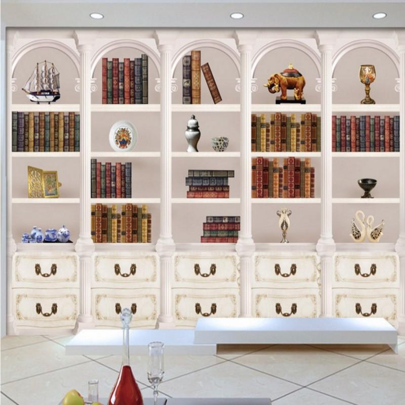 Free Shipping European Retro Hd Elegant Le Aristocratic White Bookcase Background Wall Mural Mall Bedroom Wallpaper