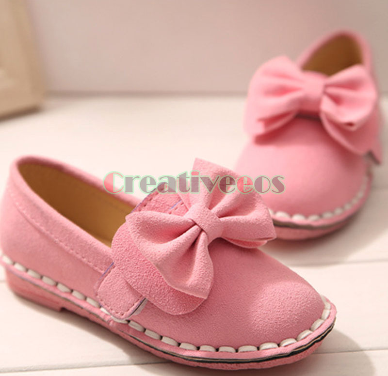 Stylish Fashion Cute Kids Soft Bottom Toddlers Children Girls Suede Leather Bow-knot Princess Casual Leisure Shoes(China (Mainland))