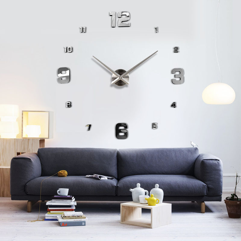 3d big size wall clock mirror sticker diy brief living room decor