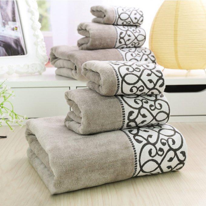 buy 3pcs decorative luxury cotton bath towels sets