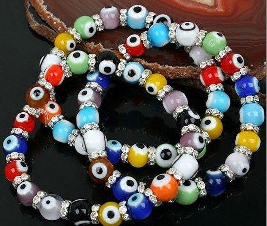 Multicolor Evil Eye Lampwork Glass Bracelet Chains Strand 50pcs/lot+ Gift&Free shipping