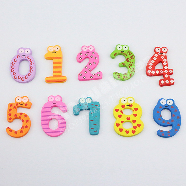 Free Shipping 100/Lot Wooden Digital Fridge Magnets Promo Magnetic Stickers Children's Early Learning Educational Toy