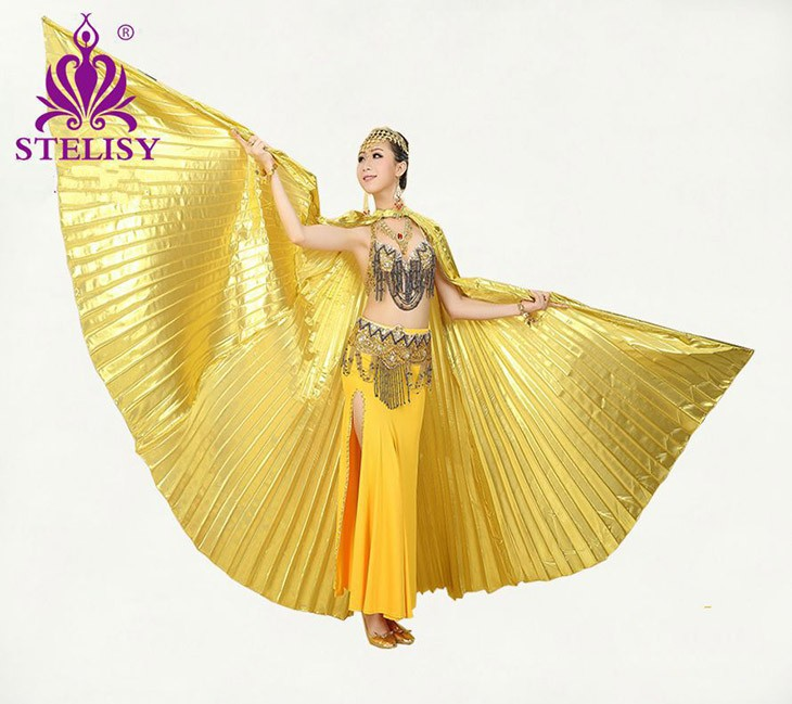 2016 New Style Professional White Belly Dancing Costume Wing Belly Dance Transparent fabric isis wings Golden Color(China (Mainland))