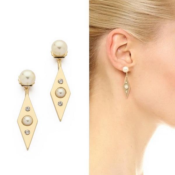 2015 fashion punk 18k gold plated geo metal faux pearl women's stud earrings pendientes de las mujeres - Jewelries4U **Min. order is $10** store