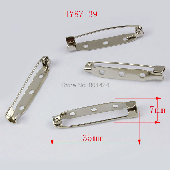 687-39 Nickel Color Brooch Pin Backs Safety Pins Connectors Metal Jewelery Finding Accessory - HYBEADS Official Store store