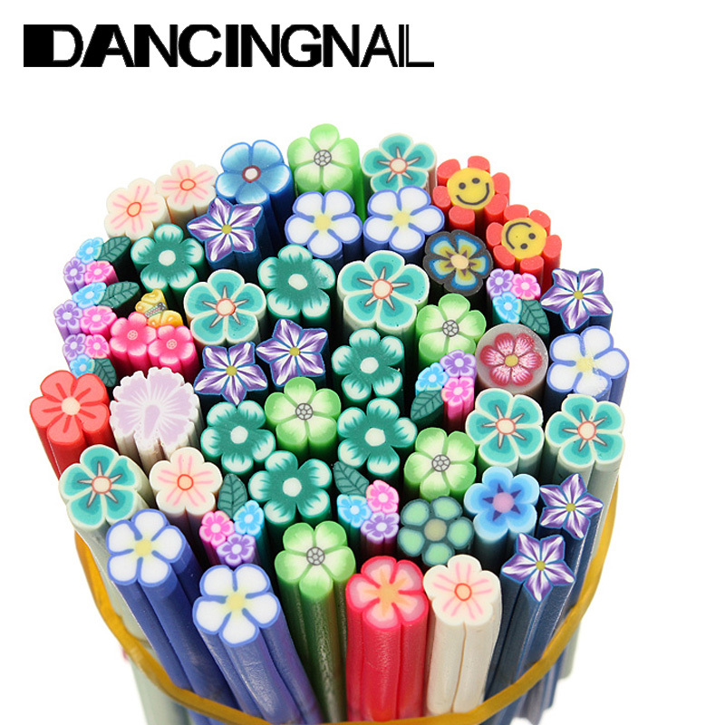 50 Pcs Nail Art Stickers Clay Canes Rod Polymer Sticks Decoration Fruit Flower Dollhouse 5 Styles Nails DIY Tools Hotting(China (Mainland))