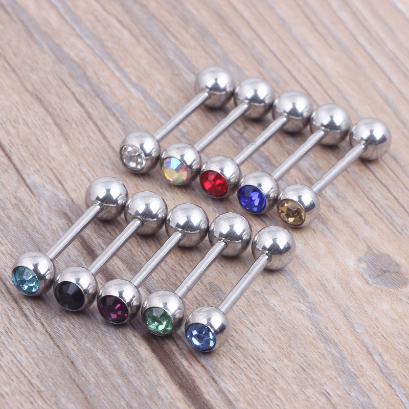 aliexpress buy tongue rings single gem mix 10colors