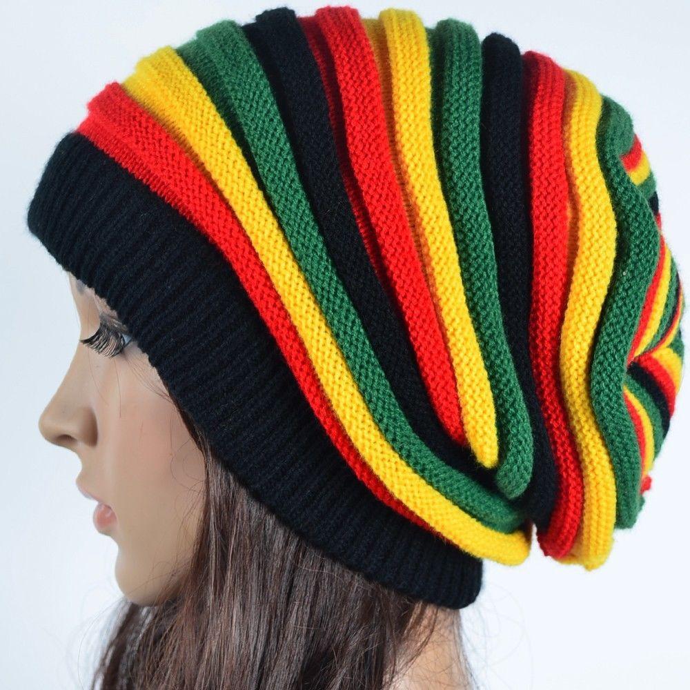 Free Knitting Pattern Rasta Beanie : Free Shipping 2015 Winter Hip Hop Bob Marley Jamaican Rasta Reggae Multi colo...