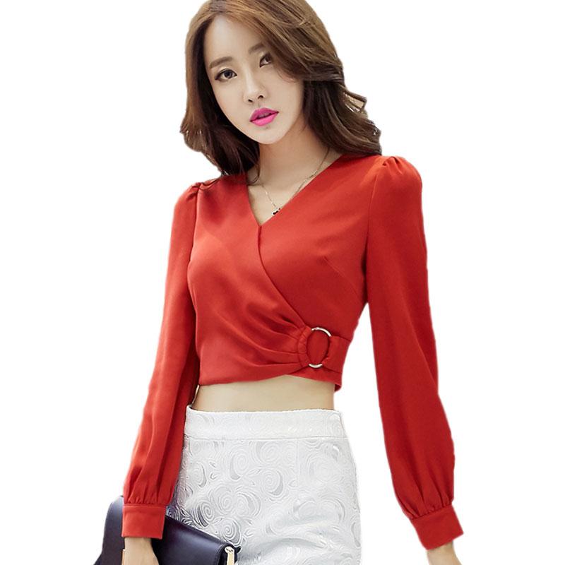 Ladies Elegant Sexy Crop Tops Women Chiffon Blouses Fashion Fold Puff Sleeve Red Chiffon Shirt For Women Blouse Blusas Femininas(China (Mainland))