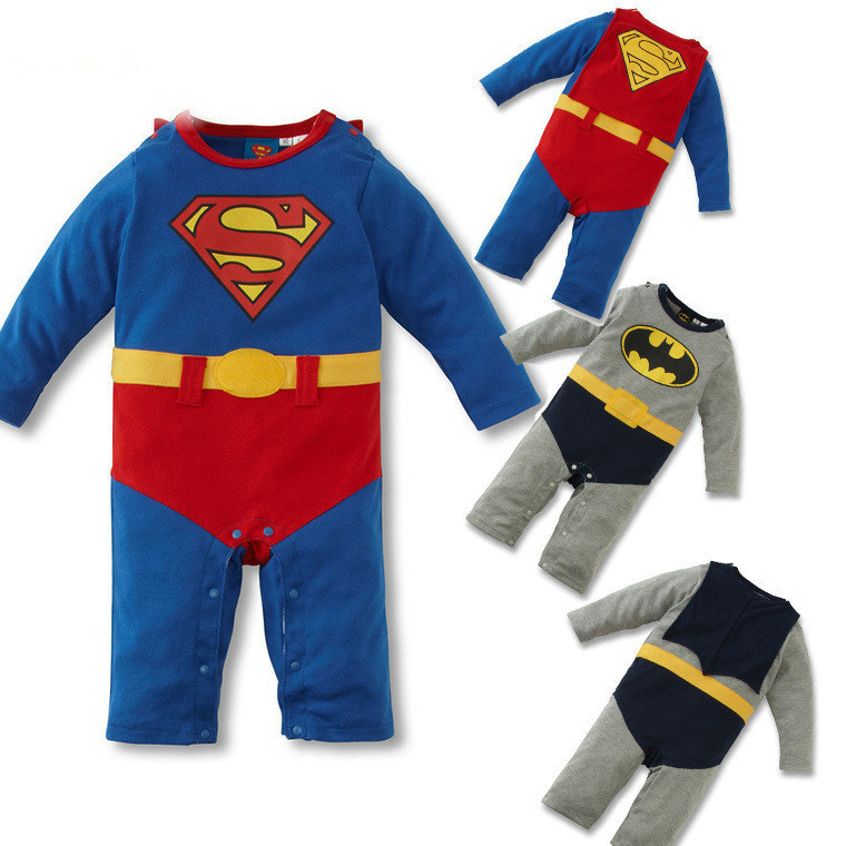 hot sell Girl Boy infant newborn Long Sleeve with CAPE Jumpsuits official DC Comics Batman Superman Baby Romper cotton