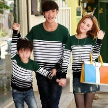 Retail Family Set Lovers Clothes Stripe Sweatshirts for Father Mother and Son/Daughter Family Clothes(Colors: Red, Green) WL520(China (Mainland))
