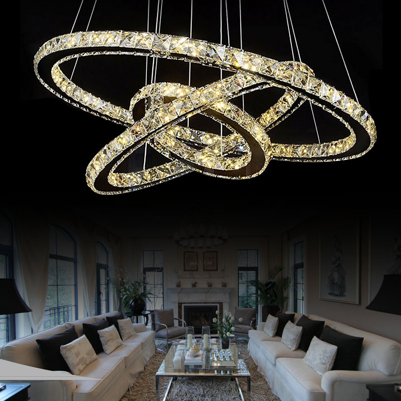 Modern Chandelier LED Crystal Ring Chandelier Ring Crystal Light Fixture Light Suspension Lumiere 3 Rings 20+40+60 Size(China (Mainland))