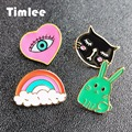 Timlee X277Cute Rabbit Enamel Pins Cat Evil Eye Alloy Brooch Pins Fashion Jewelry Wholesale