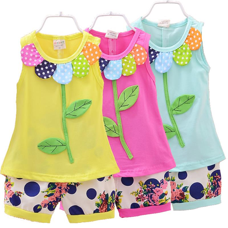 AliExpress.com Product - Baby Girls Clothing Sets Summer New 2015 Kids Clothes Set Sleeveless T shirt + shorts For Girls Outfits Flower Print Dot