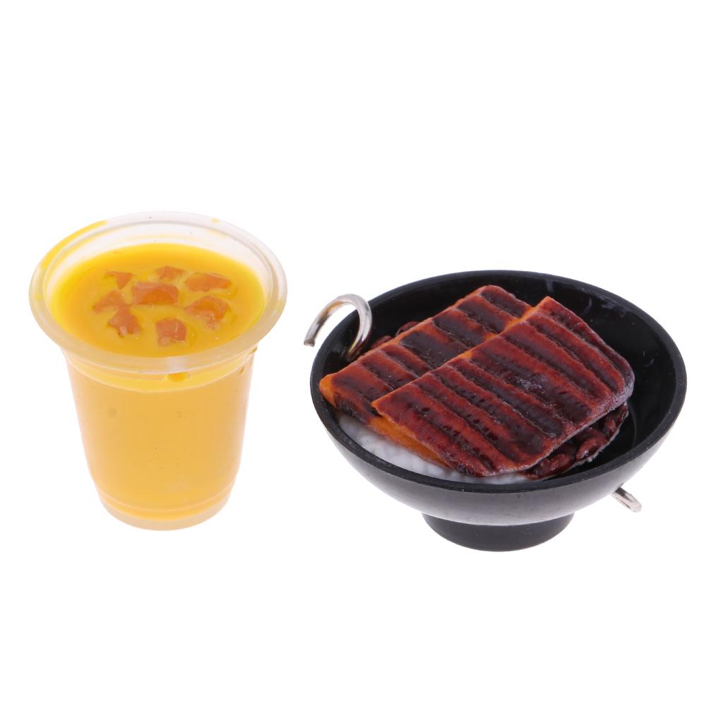 5Pcs 1/6 Dolls House Miniatures Kitchen Dining Table Decor Food Set Fruit Juice Ice Cream Meatball Steak Keychain