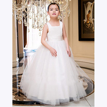 BU Simple White Ball Gown Flower Girl Dresses Shoulder Zipper Back Pretty First Communion - endlesslove store