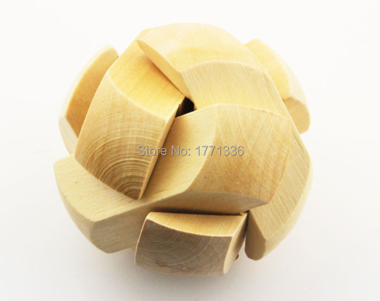 7*7*7cm Chinese Traditional Ball Shape 3D Wooden Puzzle Toy Intelligence Brain Teaser For Children Free Shipping RIW-844(China (Mainland))