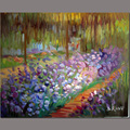 Abstract Oil Painting Canvas Hand Made Iris Flower Garden Painting Decoration For Living Room Dining Room