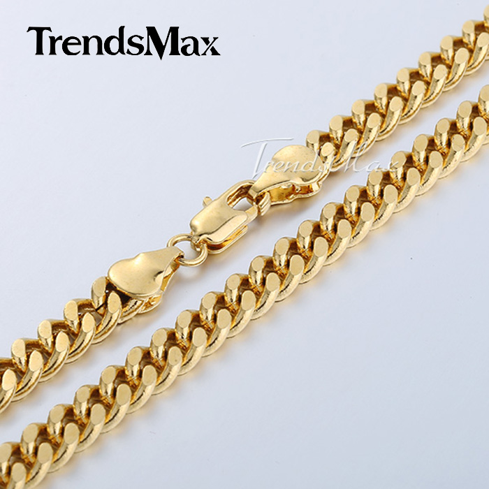 3/4/6MM 18-36INCH Curb Cuban Gold Filled Necklace MENS Boys Chain High Quality Jewelry Gift GN143(Hong Kong)