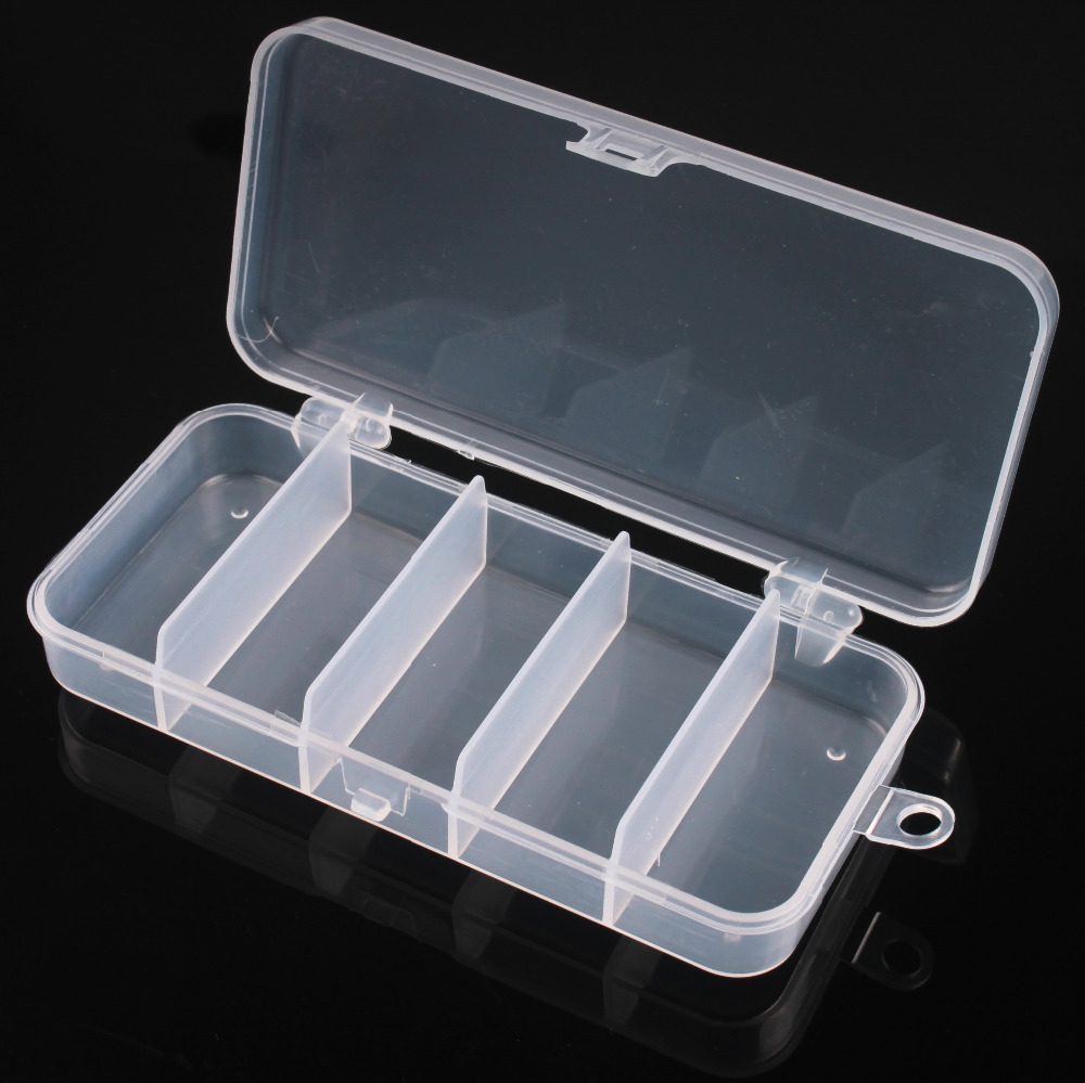 50 X Fishing Lure Baits Tackle Box Transparent Plastic Case 5 Compartment 5.7 x 2.8 x 1.0<br><br>Aliexpress