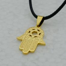 Hexagram Hamsa Hand Pendant Necklace Women Magen David Pendant Chain Gold Plated Jewelry Islam Arabic Jewish
