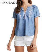 2015 Summer Women s Casual Loose Embroidered V Neck Blue Jeans Denim T shirts Simple Tees