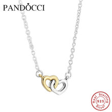 United in Love silver necklaces & pendants with 14K Real Gold Heart 925 sterling-silver-jewelry European Women Style PD1088R(China (Mainland))