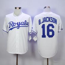 High Quality Mens 16 Bo Jackson Jersey 17 Wade Davis 18 Ben Zobrist Throwback Jerseys Light blue gray white Stitched Shirts(China (Mainland))