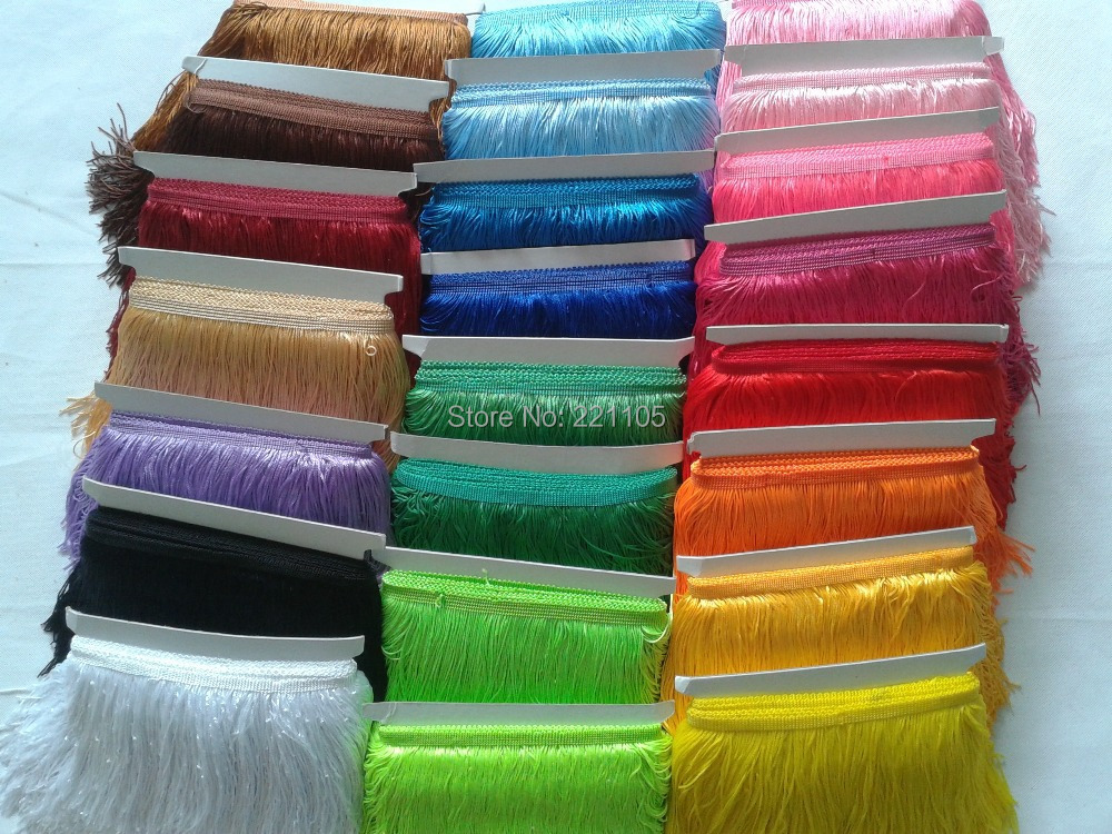 10Meter 15CM Long Polyester Tassel Fringe Trim African Lace Yarn Ribbon Cord Guipure Sew Latin Dress Garment Accessories Curtain(China (Mainland))
