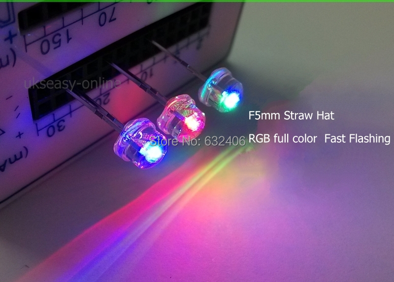New 1000pcs Straw Hat 5mm RGB LED Fast flashing water clear led diode diodes round LED Light Emitting Diode(China (Mainland))