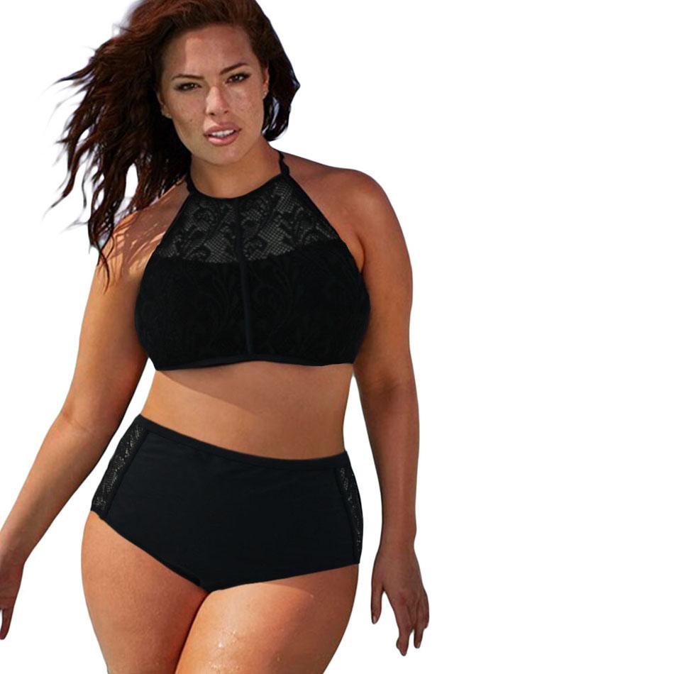 plus size swimwear high waist swimsuit high neck bikini 5 colors patterned mesh insert women. Black Bedroom Furniture Sets. Home Design Ideas