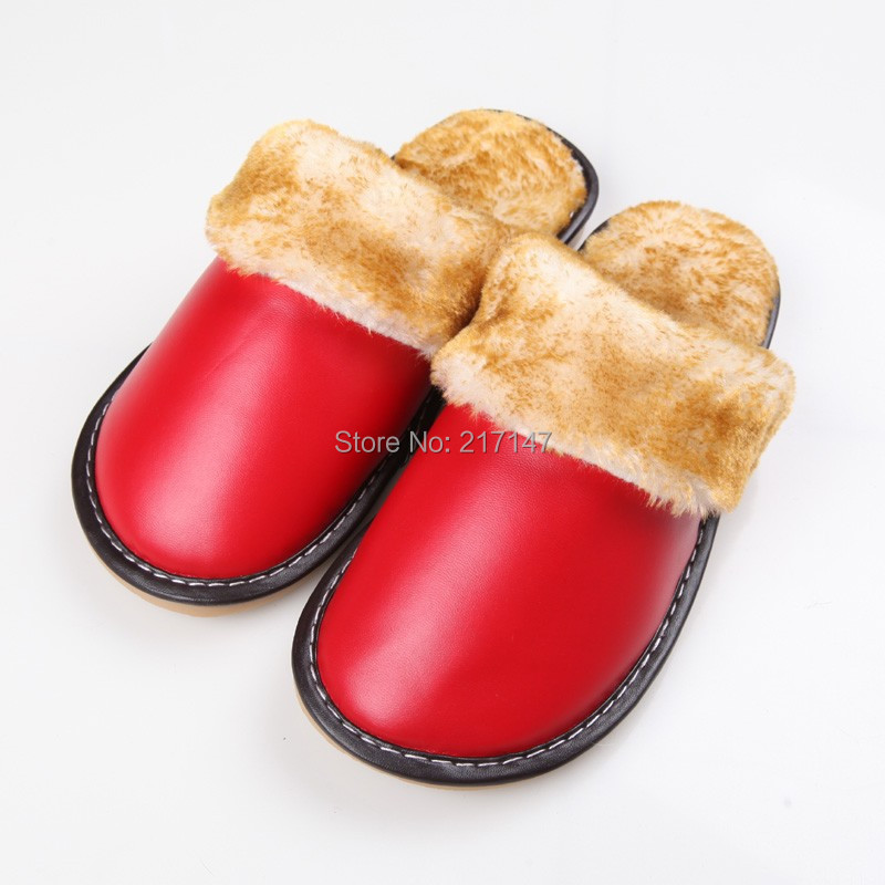 Free Shipping Home Plush Leather Slippers For Women Warm