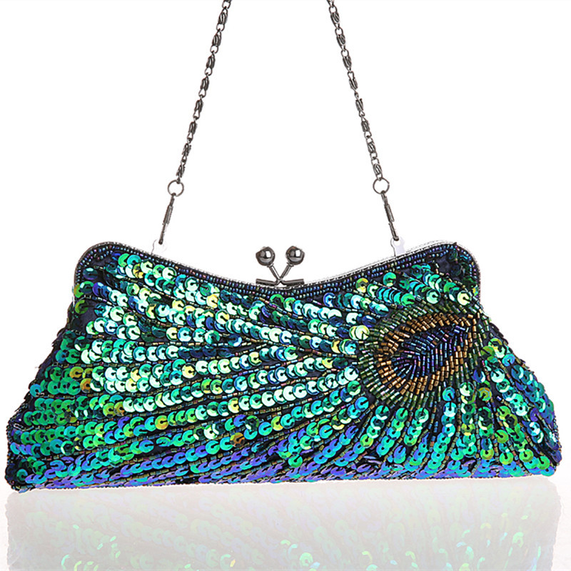 2015 Vintage Women's Clutches Chain Evening Bags Peacock Pattern Sequins Beaded Bridal Clutch ...