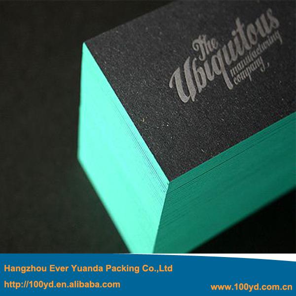 Custom Letterpressed Paper Business card Print 600gsm black card Blue Edge Visiting card Name card Manufacturer Printing Service(China (Mainland))