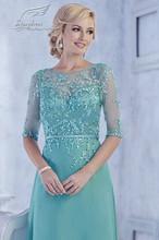 2016-Vestidos-De-Festa-A-Line elegante Scoop Appliqued Beads la mitad de manga larga de gasa lf2739 madre de la novia viste el vestido(China (Mainland))