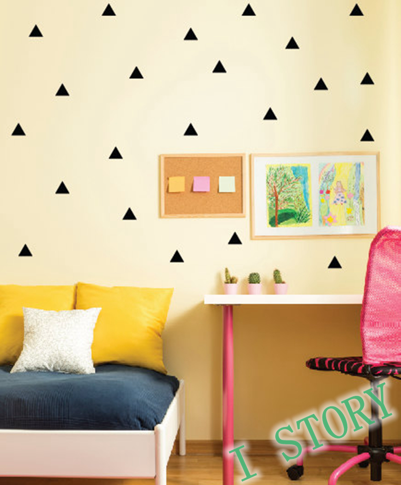 Triangles wall sticker kids room wall decoration gold for Art room decoration school