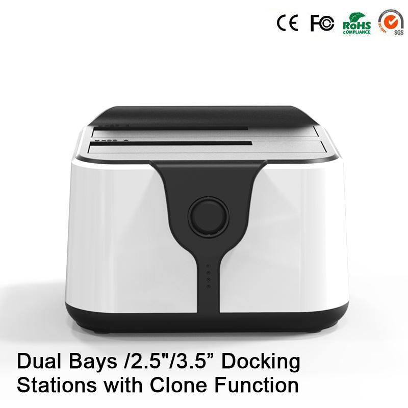 "HD 06 Upgraded! 2 Bay 2.5/3.5""USB 3.0 to SATA HDD SSD Docking Station Dual Bay Docking Station with Clone Function Socket(China (Mainland))"