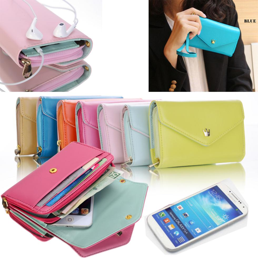 General Use! Pouch Wallet PU Leather Case for iphone 5 5S 5C 4 4s, for Samsung Galaxy S3 S4 S5 Cover With Card Slot(China (Mainland))