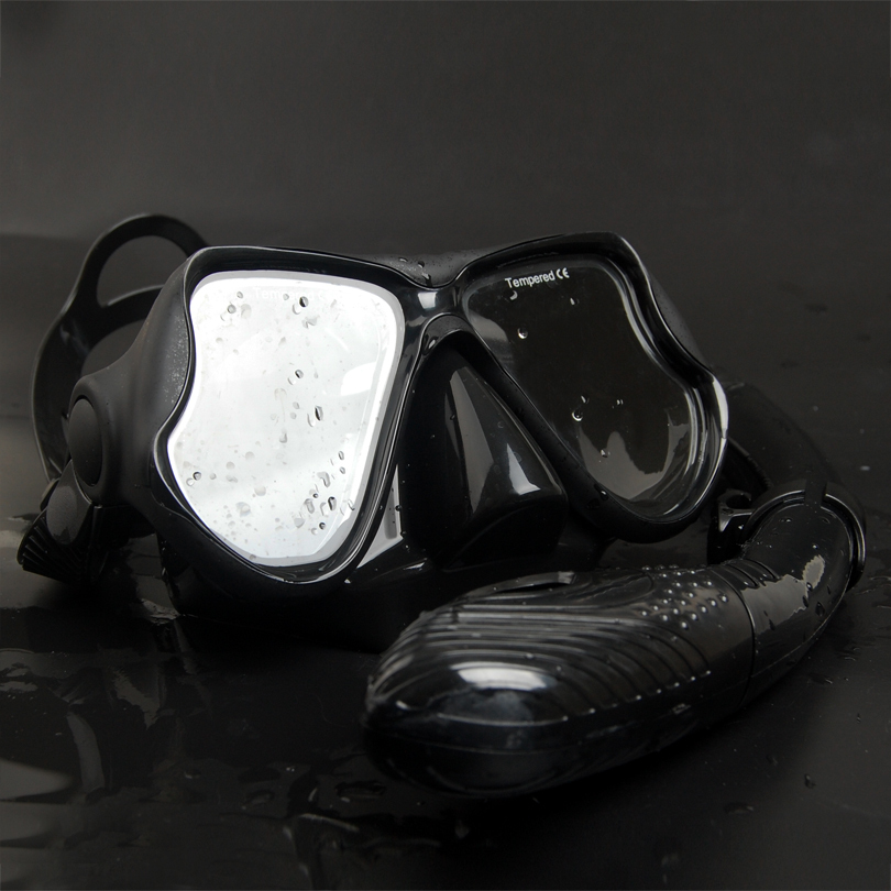 100%hot-sale diving mask+dry snorkel set diving product equipment /Silicone diving mask/Swim Mask Goggle Diving (black)M22 color(China (Mainland))