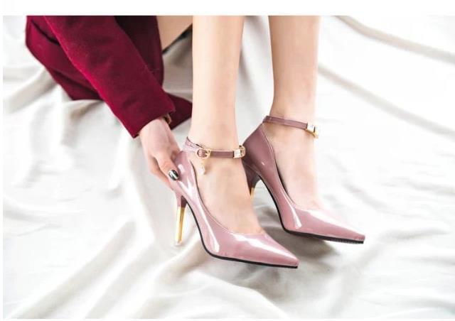 2015 spring metal high-heeled shoes pointed toe thin heels single shoes sexy shallow mouth women's genuine leather shoes