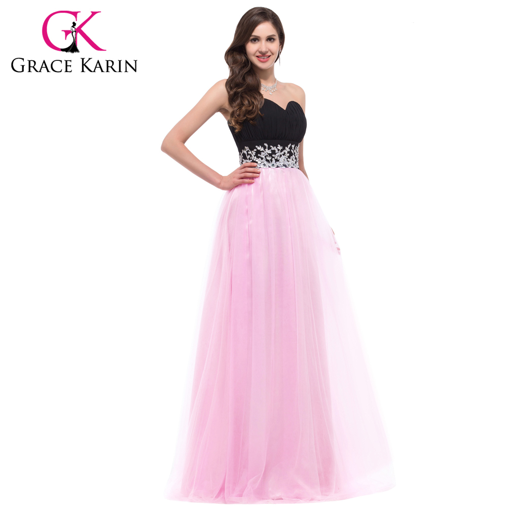 Grace karin long evening dresses 2016 sweetheart black and for Night dresses for wedding night