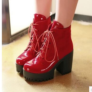 Женщины новая мода весна осень толстые 11 см высокие каблуки лакированной кожи лоскутное сапоги на платформе, босоножки, шлепанцы плюс размер 40-43