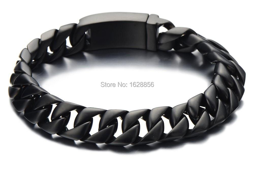 Fashion 2014 Newest Black Cuban Chain Bracelet Steel Men Stainless Jewelry Gifts Boyfriends - Fine jewelry Chinese shop store