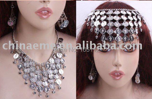 30set/lot Belly Dance India Set of Necklace (Headdress) + Dangle Earrings Womens Dance wear Yuga Accessories free shipping