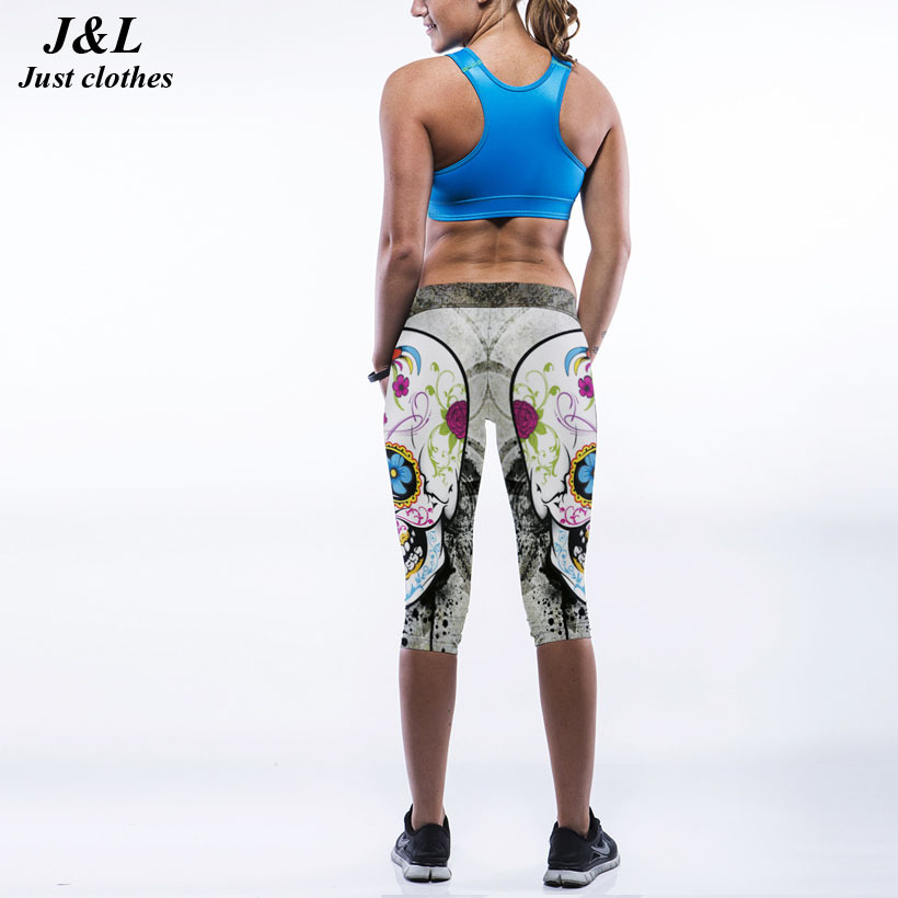 2015 New Women Yoga Athletic Sport Pants Fitness Cropped Stretch Workout Leggings Capri Elastic Printed Yoga Pants