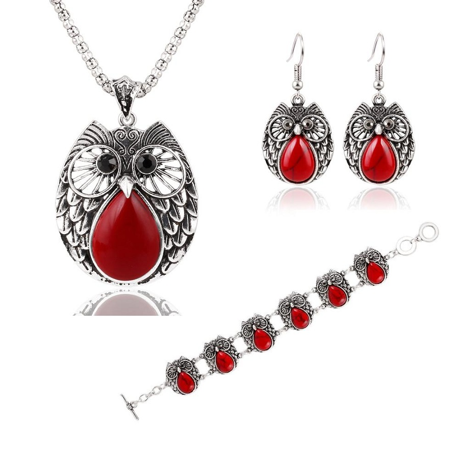 Summer Style Jewelry Sets Silver Plated Vintage Turquoise Pendant Necklace Owl Drop Earrings Charm Bracelet Fashion For women(China (Mainland))