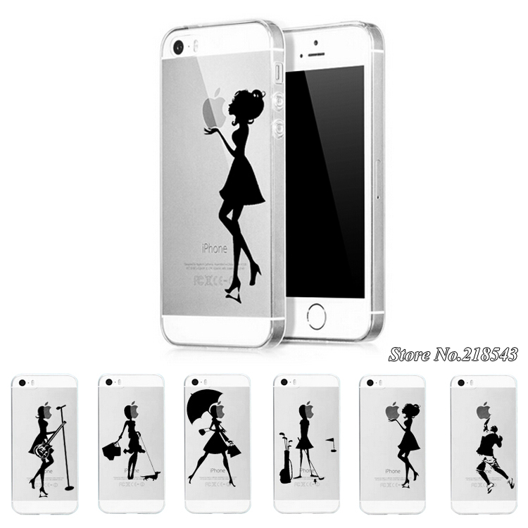Ultra Thin Transparent TPU Case iPhone 5s 5 Mobile Phone Cover iPhone5 s apple Logo Clear Fashion Pretty Girls Back - Hots store