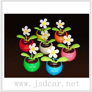 Solar Apple Flower Solar decoration automatic swing sunflowers / Car Accessories free shipping(China (Mainland))