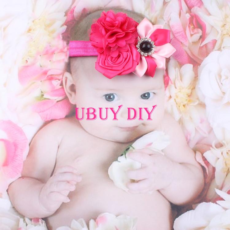 Retail Hot Pink Newborn Baby Headbands Baby Girls Hair Accessories Infant Toddler Baby Elastic Hair Bands Kids Headwear(China (Mainland))